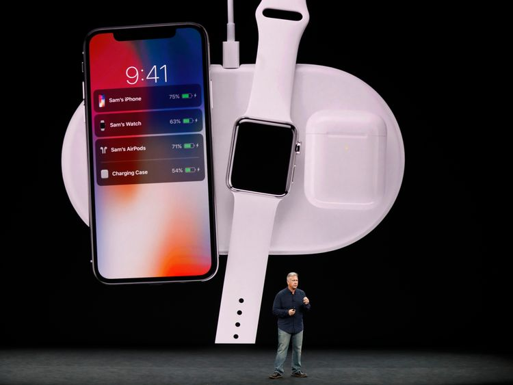Apple Senior Vice President Phil Schiller shows the iPhone X during a launch event