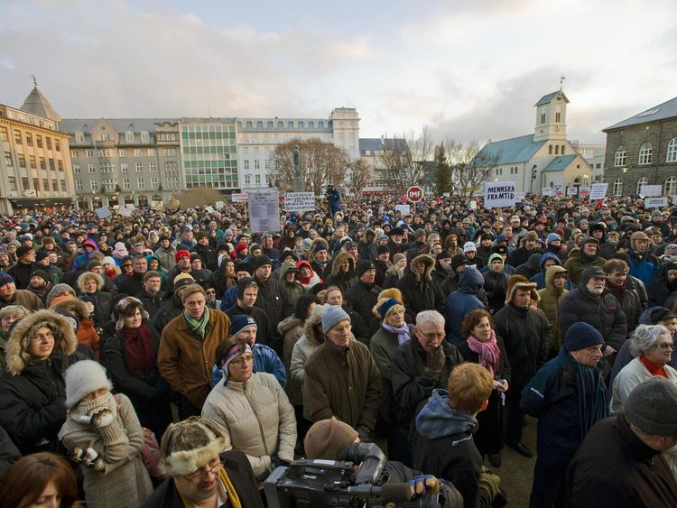 People demonstrate against the government on November 29, 2008 in Reykjavik, during a weekly protest over the global financial crisis which saw Icelandic banks suffer heavy losses