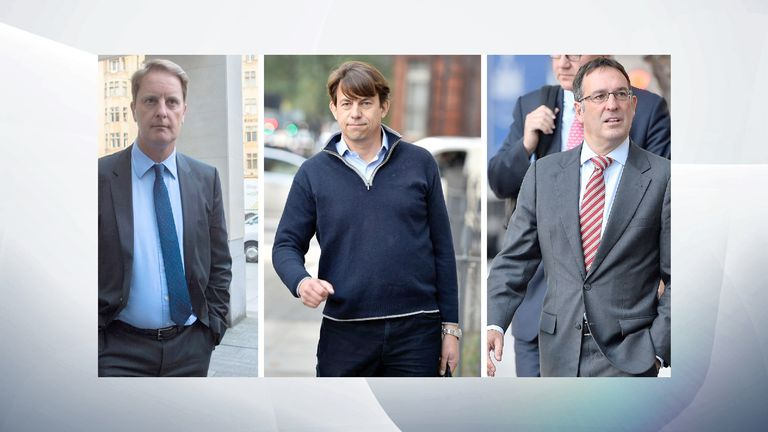 John Scouler, Carl Rogberg and Christopher Bush deny the charges they face
