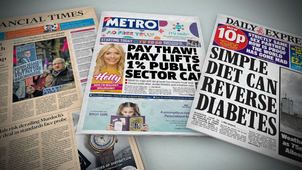 Wednesday's newspaper front pages