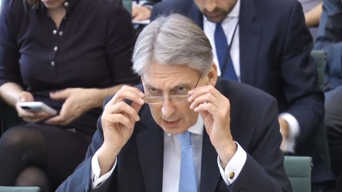 Chancellor Philip Hammond answering questions at the Commons Treasury Select Committee in Westminster, London. PRESS ASSOCIATION Photo. Picture date: Wednesday October 11, 2017. See PA story POLITICS Brexit. Photo credit should read: /PA Wire