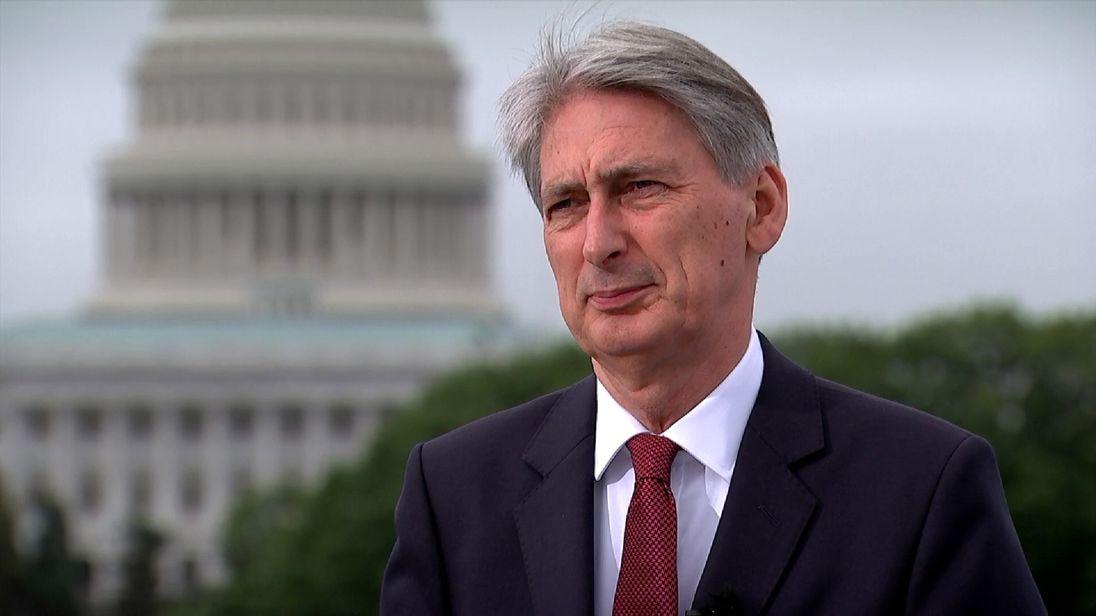Chancellor Philip Hammond speaks to Sky News in Washignton