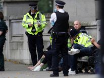 Police with injured woman near the Natural History Museum