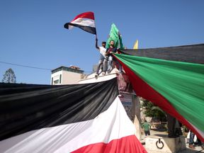 Palestinians celebrated the news in Gaza city
