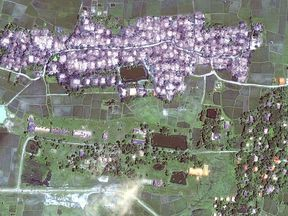 What Human Rights Watch says is the complete destruction of Rohingya villages next to an intact Rakhine village, in Maungdaw township, recorded on 21 September 2017.