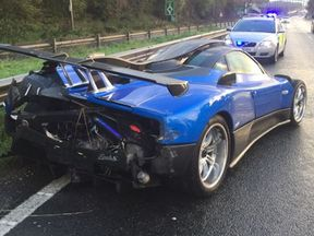 Handout photo issued by Sussex Police dated 21/10/2017 of one-of-a-kind blue Pagani Zonda, worth £1.5 million, after it was badly damaged when it smashed into a crash barrier