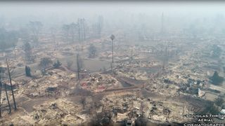 An aerial view of the devastation caused by the California wildfires, in Santa Rosa, California