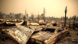 The remains of fire damaged homes and in Santa Rosa, California