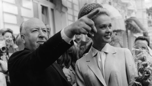 Alfred Hitchcock and American actress Tippi Hedren in Cannes after the premiere of his latest thriller 'The Birds' in 1963