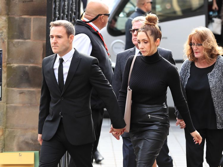 Soap stars Alan Halsall and wife Lucy-Jo Hudson arriving at Salford Cathedral for the funeral service of Coronation Street actress Liz Dawn