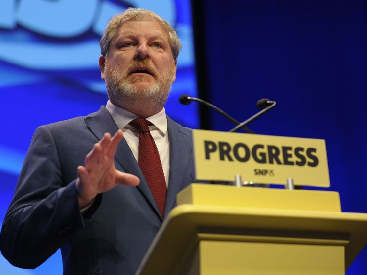 Angus Robertson, Deputy leader of the Scottish National Party (SNP) speaks on the final day of the Scottish National Party (SNP) annual conference in Glasgow on October 10, 2017. The Scottish National Party on Monday urged the Spanish government to 'respect the overwhelming 'si' vote' in the Catalan independence referendum in a resolution at its annual conference. / AFP PHOTO / Andy Buchanan (Photo credit should read ANDY BUCHANAN/AFP/Getty Images)