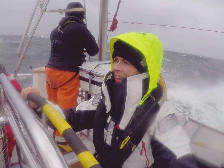 Hannah Thomas-Peter on board the voyage