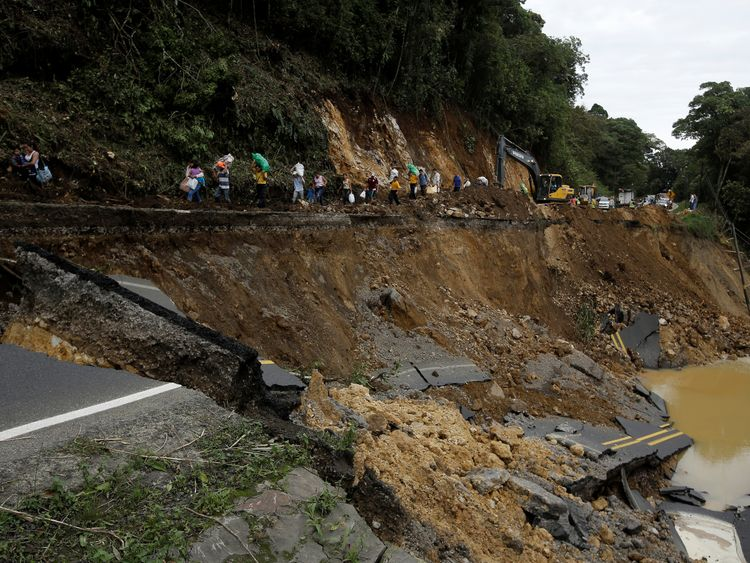 The storm has triggered landslides in Casa Mata in Costa Rica (pictured), as well as in Nicaragua and Honduras