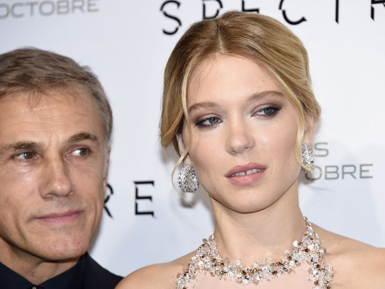 Lea Seydoux (right), with her co-star in Spectre and Inglourious Basterds Christoph Waltz, says Weinstein tried to kiss her