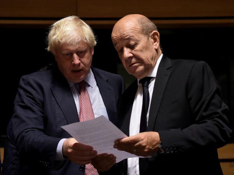Boris Johnson with French Foreign Secretary Jean-Yves Le Drian