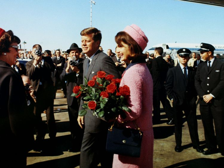 President Kennedy and first lady Jacqueline Bouvier Kennedy arrive at Love Field in Dallas, Texas less than an hour before his assassination