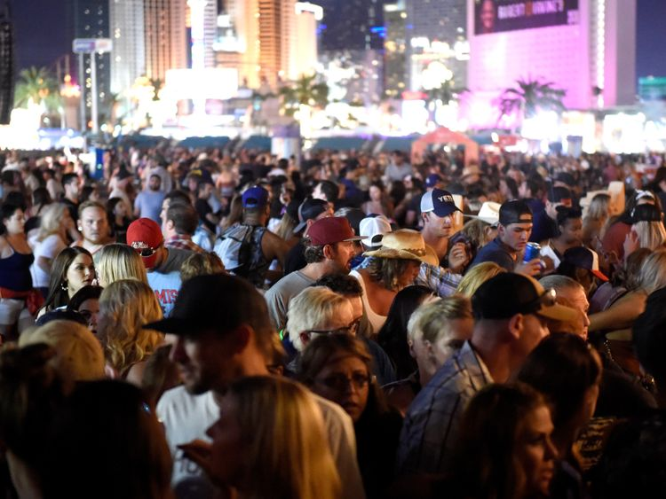 A crowd of people at the Route 91 Harvest country music festival