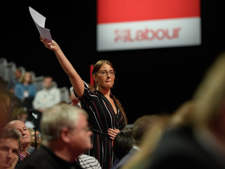 LIVERPOOL, ENGLAND - SEPTEMBER 25: Councillor Laura Pidcock of Unite the Union requests the chance to address delegates on the first day of the Labour Party Conference in the Exhibition Centre Liverpool on September 25, 2016 in Liverpool, England. Party leader Jeremy Corbyn will hope to re-unite the party after being re-elected leader yesterday. (Photo by Leon Neal/Getty Images)