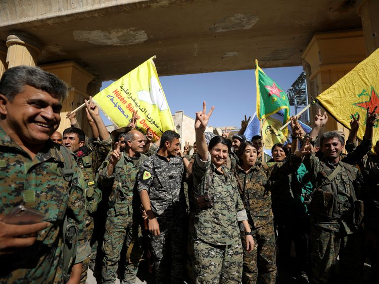 Fighters of Syrian Democratic Forces in Raqqa