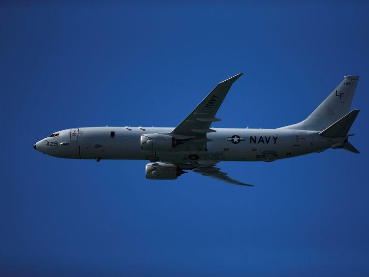 A US Navy P-8 Poseidon surveillance plane