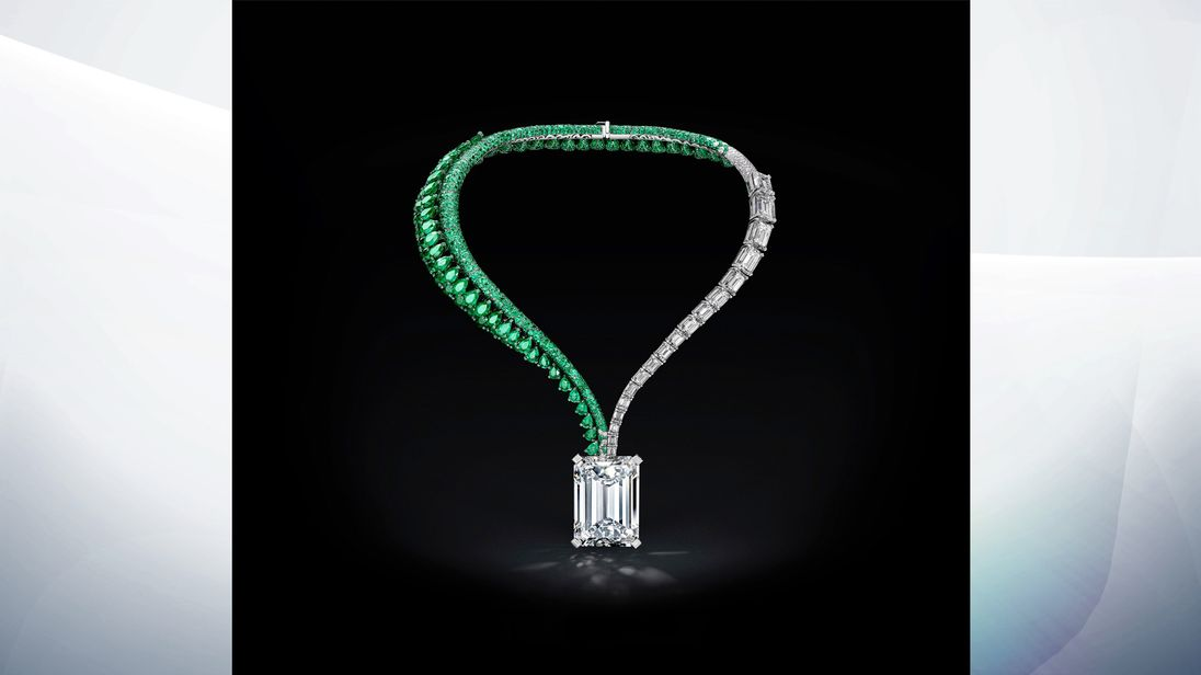 The 163.41 carat diamond has been set in an emerald and diamond necklace. Pic: Christie's Images Ltd 2017