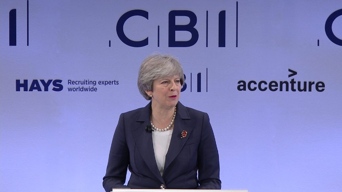 Theresa May tells the CBI what she intends to do about Westminster harassment problem