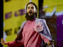 LONDON, ENGLAND - NOVEMBER 12: Jared Leto of Thirty Seconds to Mars speaks on stage during the MTV EMAs 2017 held at The SSE Arena, Wembley on November 12, 2017 in London, England. (Photo by Dave J Hogan/Dave J Hogan/Getty Images for MTV)