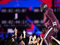 Stormzy performs on stage during the MTV EMAs 2017 held at The SSE Arena, Wembley