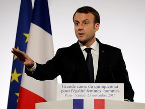 French President Emmanuel Macron delivers a speech during the International Day for the Elimination of Violence Against Women, at the Elysee Palace in Paris, France, November 25, 2017. REUTERS/Ludovic Marin/Pool