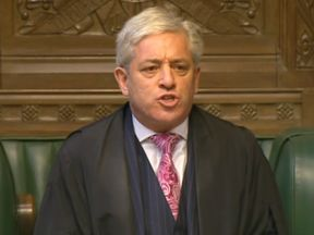 Speaker of the House of Commons John Bercow speaks during Prime Minister's Questions in the House…