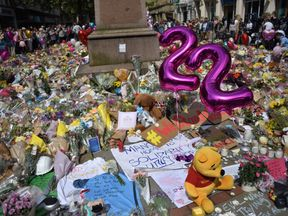 Tributes to the victims and injured of the Manchester Arena bombing in St Ann's Square in Manchester