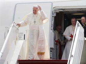Pope Francis arrives at Yangon International Airport, Myanmar