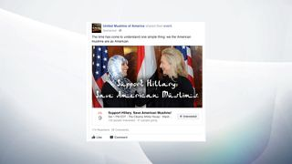 A Russian page expressing Muslim support for Hillary