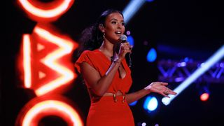 LEEDS, ENGLAND - NOVEMBER 29: Host Maya Jama speaks on stage at the MOBO Awards at First Direct Arena Leeds on November 29, 2017 in Leeds, England. (Photo by Andrew Benge/Getty Images)