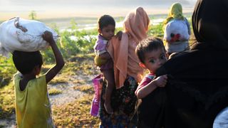 Hundreds of thousands of Muslim Rohingya driven from their homes