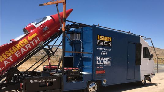 A limousine driver turned rocket scientist will launch himself over the California town of Amboy on Saturday in a home-made rocket. 2017 - pic from his website http://www.madmikehughes.com/images/rocket.png