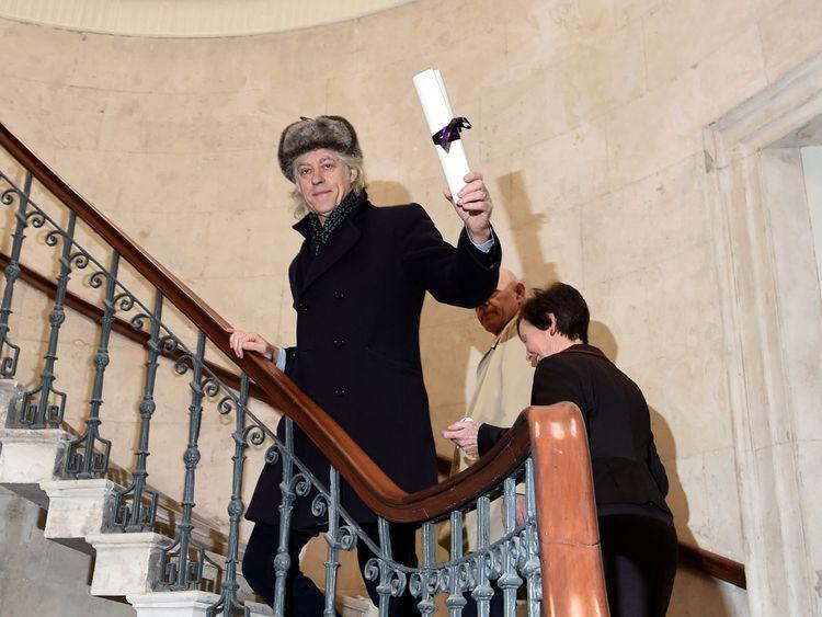 Bob Geldof arrives to return his 'Freedom of the City of Dublin' award