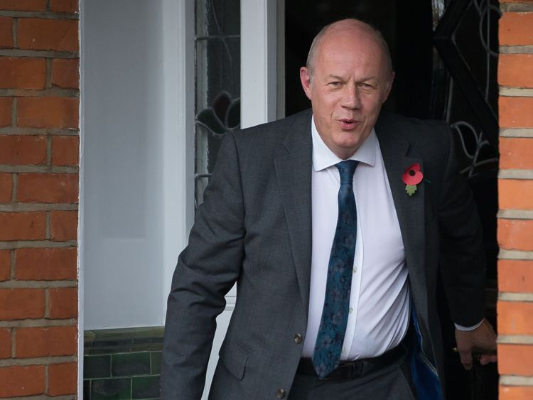 Damian Green leaves his home earlier this week