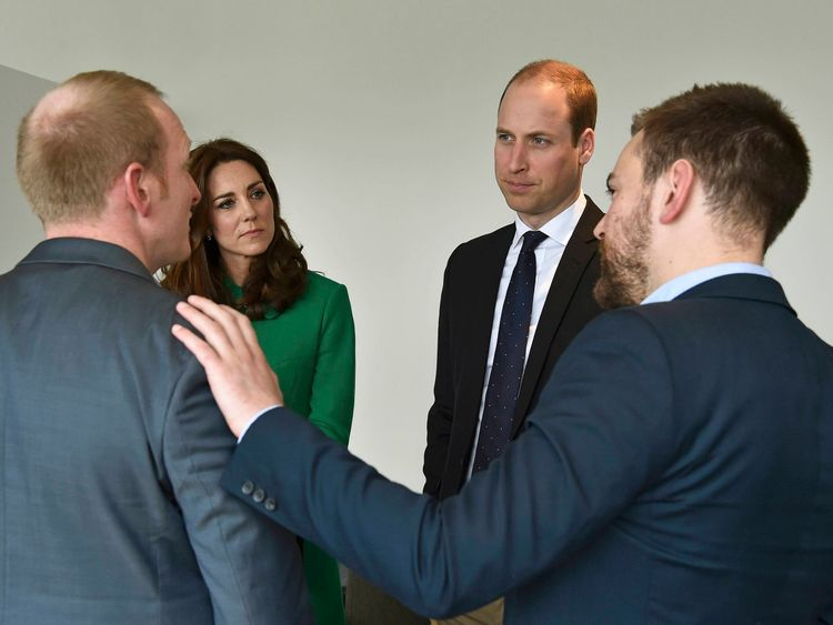 The pair meeting the Duke and Duchess of Cambridge
