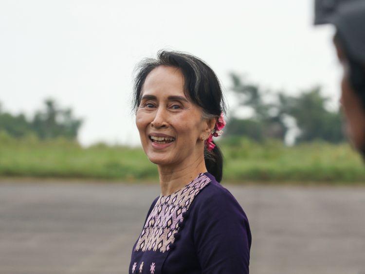 Aung San Suu Kyi on a visit to Rakhine state on 2 November