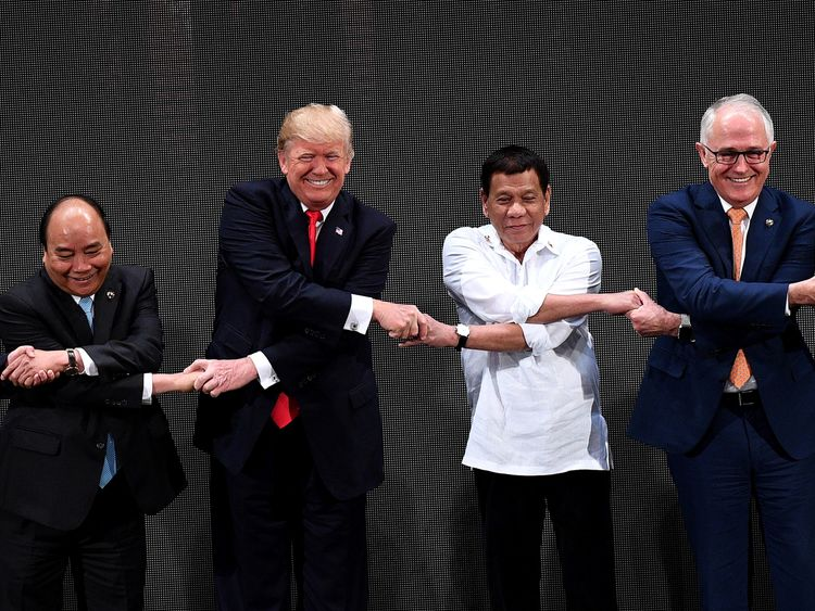 Rodrigo Duterte and Donald Trump during the opening ceremony of a leaders' summit in Manila in November 2017