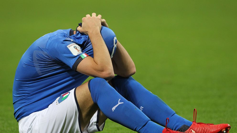Alessandro Florenzi of Italy reacts after losing at the end of the FIFA 2018 World Cup Qualifier play-off against Sweden at the San Siro