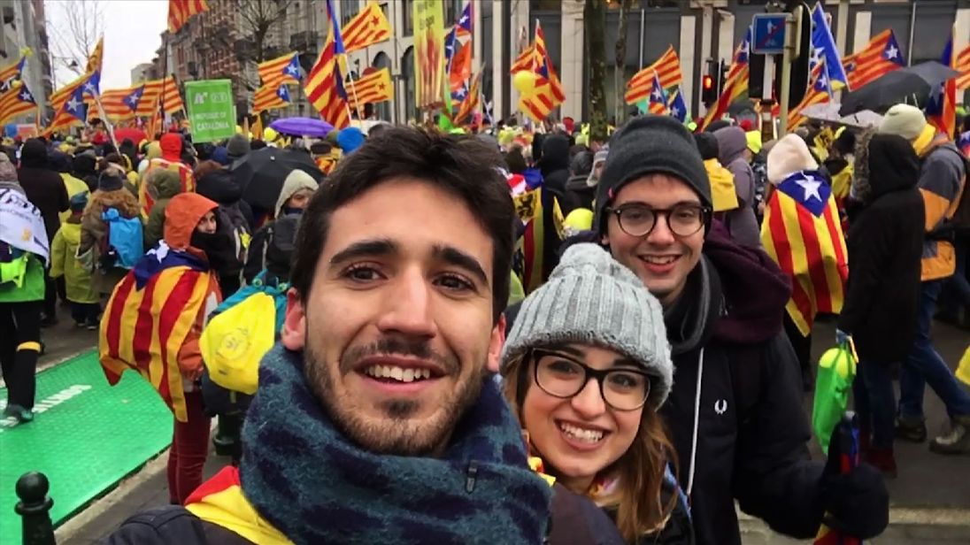 Catalans have travelled to Brussels to support their 'exiled government'