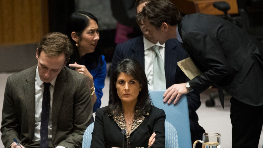U.S. ambassador to the United Nations Nikki Haley during a Security Council meeting concerning the situation in the Middle East