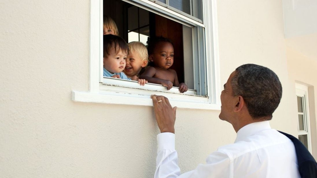 Barack Obama added this photo to a tweet which was among the most retweeted in 2017. Pic: Pete Souza/White House