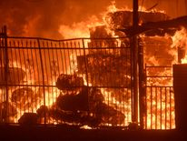 Wildfire engulfs horse stables after an early-morning Creek Fire