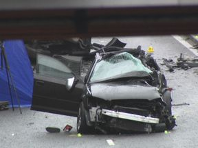 One of the cars involved in the fatal Birmingham crash