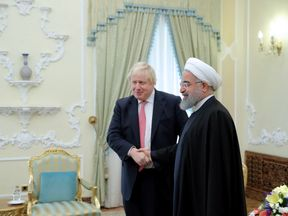 Boris Johnson with Iranian President Hassan Rouhani