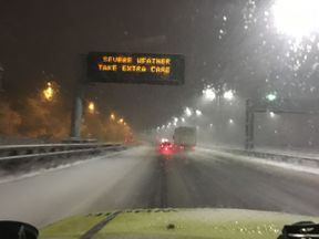 Warning of hazardous driving conditions as snow hits the country.
