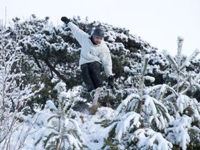 A man skis down a slope near Stroud, Gloucestershire